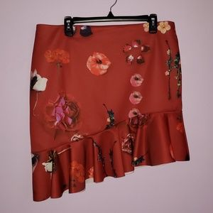 Mini Floral Skirt with Curved Hem and Frill [ASOS]